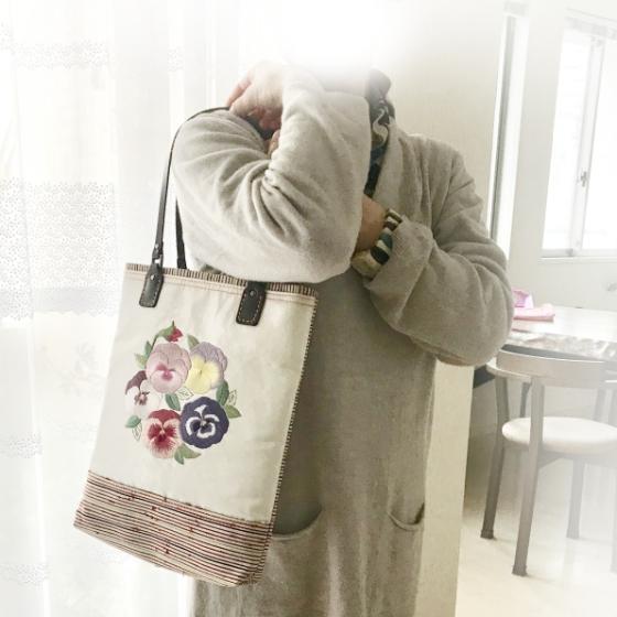 【大阪府 K様】日本刺繡×帯 縦長バッグ